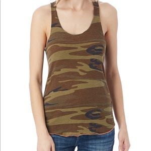 ALTERNATIVE APPAREL CAMO RACERBACK TANK TOP SZ S